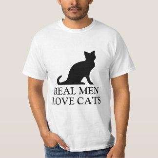 Real men love cats t shirt | Black and white kitty