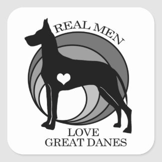 Real Men Love Great Danes Square Sticker