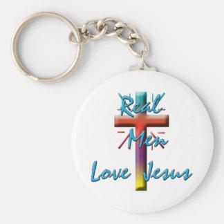 REAL MEN LOVE JESUS BASIC ROUND BUTTON KEYCHAIN
