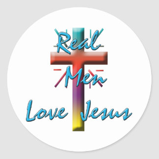 REAL MEN LOVE JESUS CLASSIC ROUND STICKER