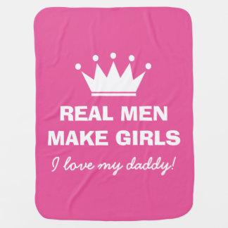 Real men make girls pink baby blanket with crown