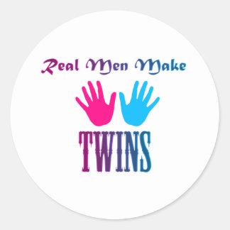 Real Men Make Twins (Boy/Girl) Round Sticker