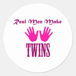 Real Men Make Twins (Girl/Girl) Round Sticker