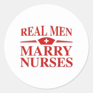 Real Men Marry Nurses Round Sticker