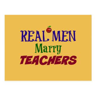 Real Men Marry Teachers Postcard