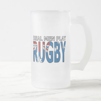 Real Men Play Rugby Australia Frosted Glass Beer Mug
