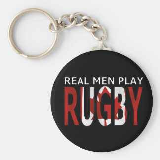 Real men play rugby Canada Basic Round Button Keychain