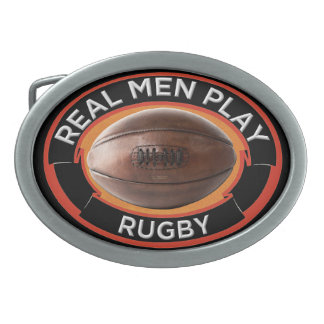 Real Men Play Rugby Oval Belt Buckle