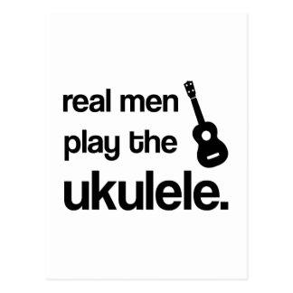 REAL MEN PLAY THE UKULELE POSTCARD