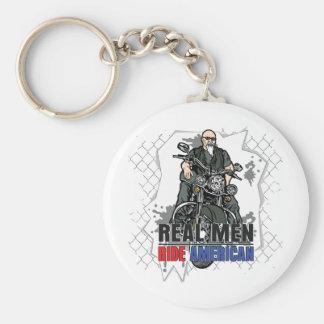 Real Men Ride American Basic Round Button Keychain