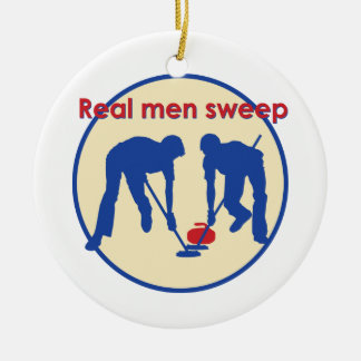 Real Men Sweep! Curling Round Ceramic Ornament