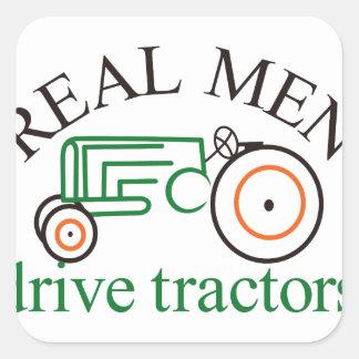 Real Men Tractor Square Sticker