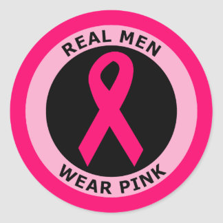REAL MEN WEAR PINK CLASSIC ROUND STICKER