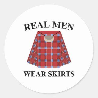 Real Men Wear Skirts Round Sticker