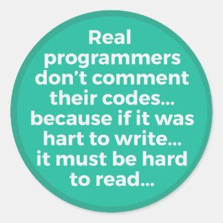 Real Programmers Round Sticker