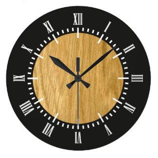 Real Scanned Crown Cut Oak Veneer Large Clock