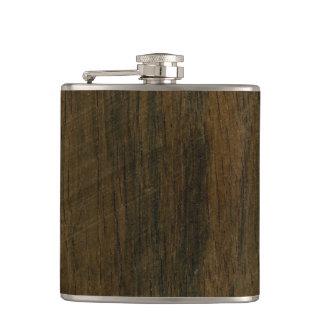 Real Scanned Wooden Veneer Rio Rosewood Palisander Hip Flask