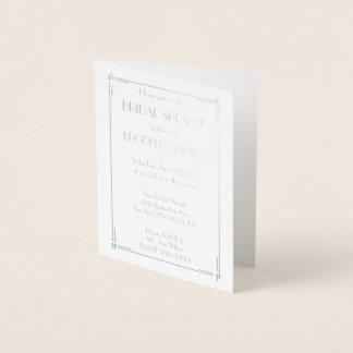 Real Silver Foil Art Deco Bridal Shower Invites