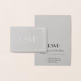 Real Silver Foil Art Deco Grey Wedding RSVP Cards