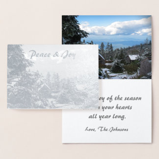 Real Silver Foil Holiday Peace & Joy Mt. LeConte Foil Card