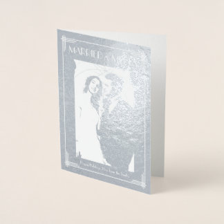 Real Silver Foil Married And Merry Christmas Card