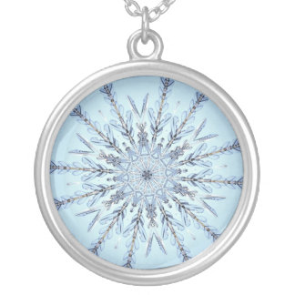 Real Snowflake Fractal Silver Plated Necklace