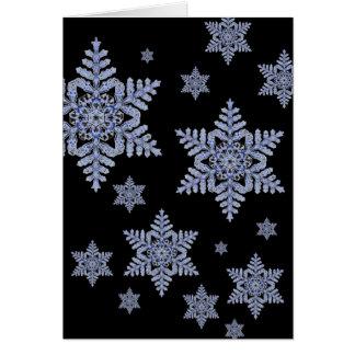 Real Snowflake on Black Card