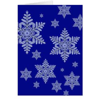 Real Snowflake on Deep Blue Card
