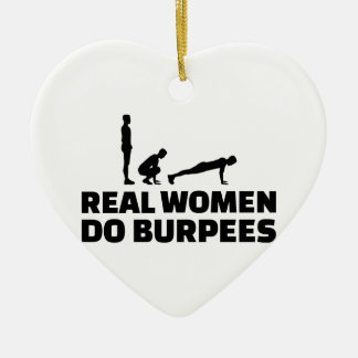 Real women do burpees ceramic heart ornament