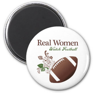 Real women watch football 2 inch round magnet