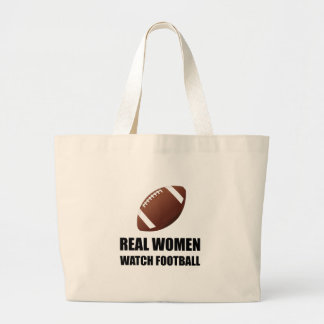 Real Women Watch Football Large Tote Bag
