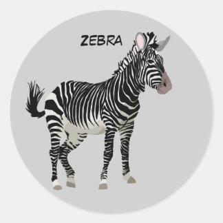 Realist Animated Zebra Classic Round Sticker