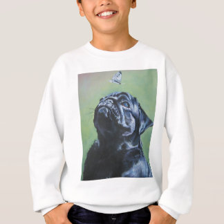 Realistic Black Pug Dog Painting Sweatshirt