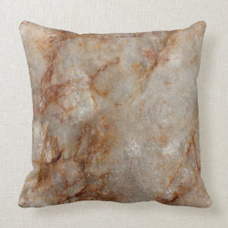 Realistic Brown Faux Marble Stone Pattern Throw Pillow
