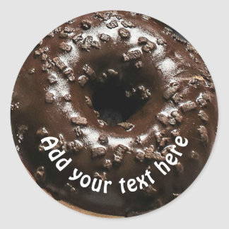 Realistic Chocolate Frosted Donut Round Sticker