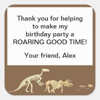 Realistic Dinosaur Fossil Birthday Party Favor Tag