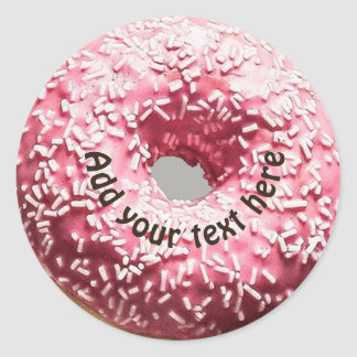 Realistic Donut with Pink Frosting & Sprinkles Classic Round Sticker