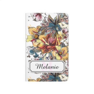 Realistic drawn floral bouquet and birds pattern journal