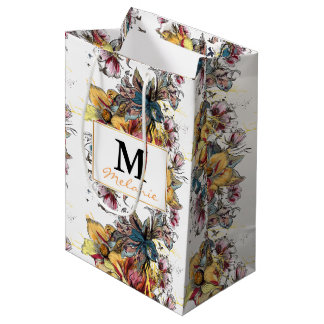 Realistic drawn floral bouquet and birds pattern medium gift bag