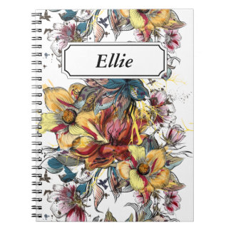 Realistic drawn floral bouquet and birds pattern notebooks