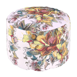 Realistic drawn floral bouquet and birds pattern pouf