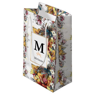 Realistic drawn floral bouquet and birds pattern small gift bag