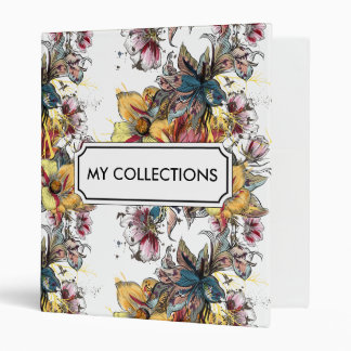 Realistic drawn floral bouquet and birds pattern vinyl binders