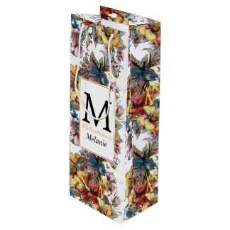 Realistic drawn floral bouquet and birds pattern wine gift bag