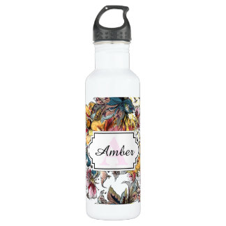 Realistic drawn Floral bouquet pattern 710 Ml Water Bottle