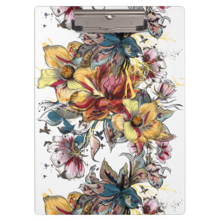 Realistic drawn Floral bouquet pattern Clipboard
