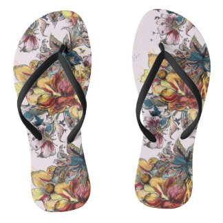 Realistic drawn Floral bouquet pattern Flip Flops