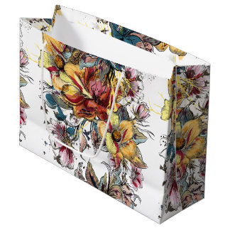 Realistic drawn Floral bouquet pattern Large Gift Bag