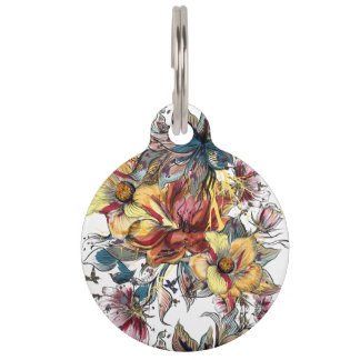 Realistic drawn Floral bouquet pattern Pet ID Tag
