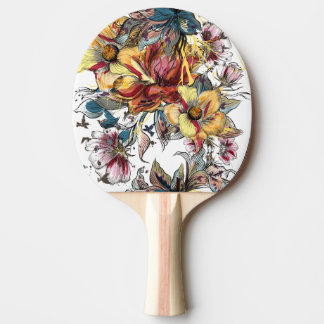 Realistic drawn Floral bouquet pattern Ping Pong Paddle